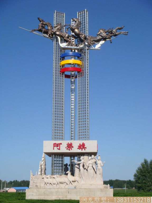 民族风情不锈钢雕塑,大型广场雕塑